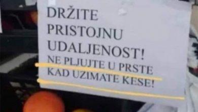"""Photo of Mjera protiv korone u marketu: """"Ne pljujte u prste kada uzimate kese"""""""