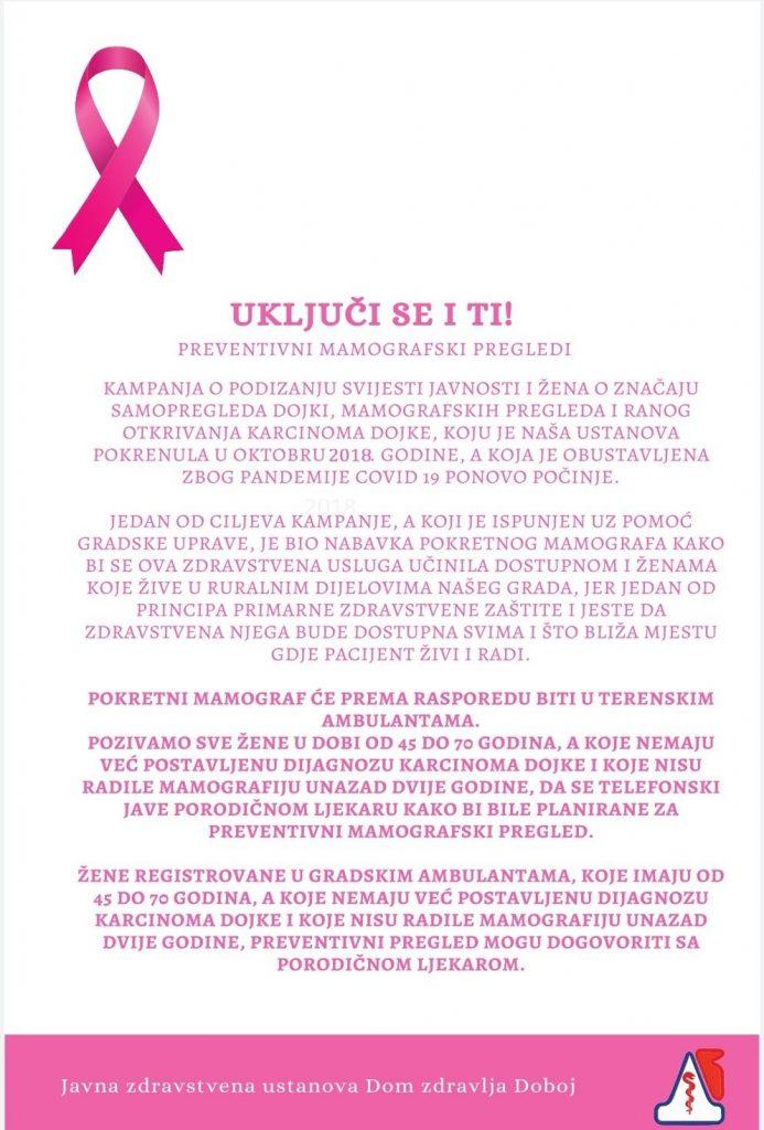 doboj besplatni mamografski pregledi